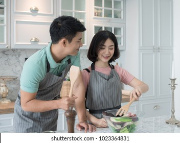Asian Couple Cooking Kitchen Images, Stock Photos & Vectors | Shutterstock