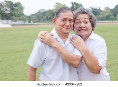 asian couple old man and woman in arm to show love moment
