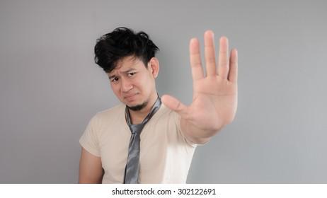 Asian crazy employee with his bad necktie.
