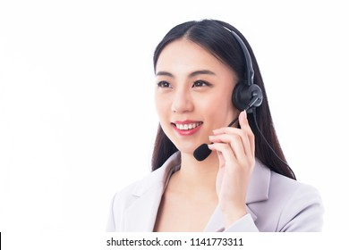 Asian customer Service isolated on white background
