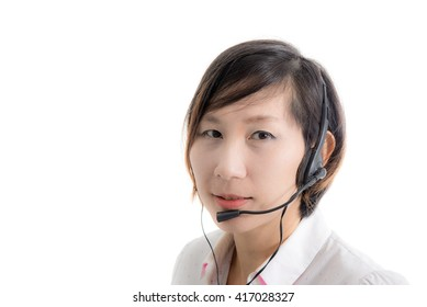 Asian customer service operator woman with headset, isolated on white background