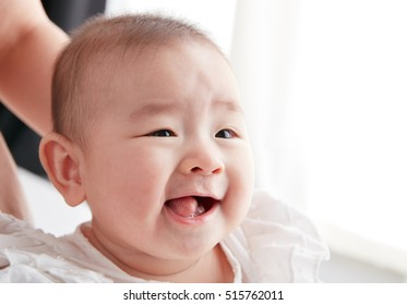 Asian cute baby closeup , shot on a clean background