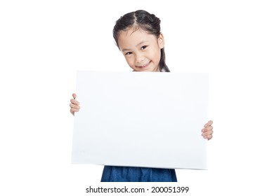 Asian cute girl smile hold a blank sign isolated on white background