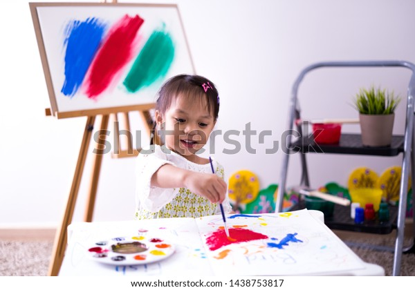 Asian Cute Little Child Girl Drawing Stock Photo Edit Now