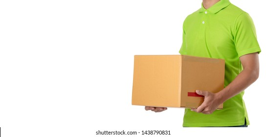 Asian delivery man carry brown parcel or cardboard boxes isolated on white background. Express and delivery concept