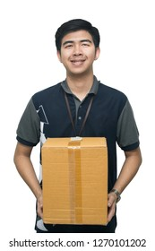 Asian delivery man carrying box on white background, Worker carrying box isolated on white