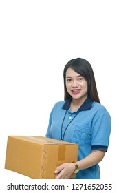 Asian delivery woman carrying box on white background, Asian pretty woman carrying box isolated on white