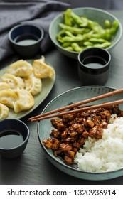 Asian dinner with tori don, edamame and wan tan