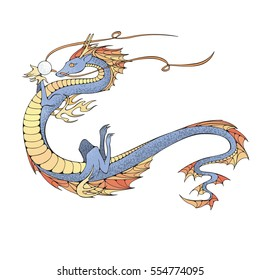 Asian dragon. Symbol of the 2024 year. Raster illustration.