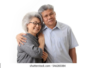 The Asian elder couple on the white background.