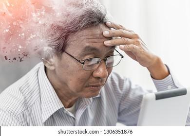 Asian elder lost memory from dementia or alzheimer disease concept