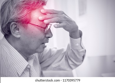 Asian elder pain from headache stress danger of stroke syndrome