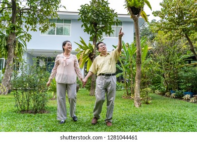 Asian elderly couples are walking inside the backyard to see nature.