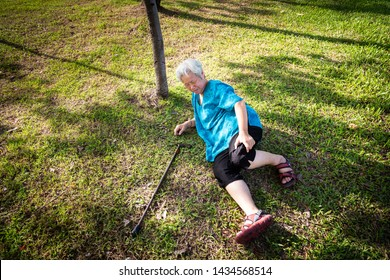 Asian elderly people with walking stick on floor after falling down in park,sick senior woman fell to the floor because of dizziness,faint or accident,suffering from illness,leg,knee pain or bone pain
