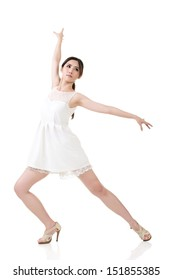 Asian elegant female dancer with attractive pose in white dress. Full length portrait. Isolated on the white background.