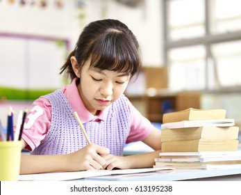 asian elementary schoolgirl studying or doing course work in classroom.