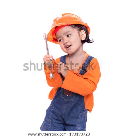 9e8ea6b37f5 Asian Engineer baby with tools in hand Isolated on white background