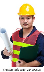Asian engineer with blue print and clipboard