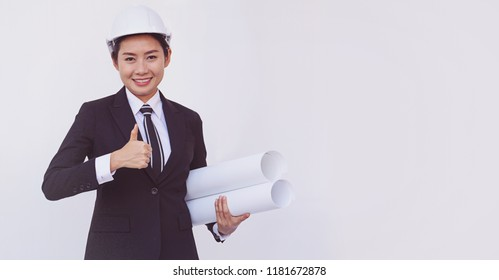 Asian engineer girl show thumbs up on white background