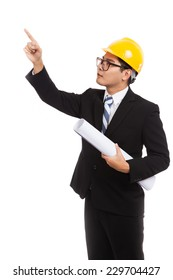 Asian engineer man point up with blueprints  isolated on white background