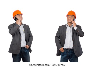 Asian engineer men using mobile phone isolated on white background.