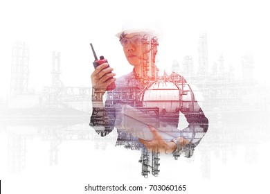 Asian engineer monitoring in oil and gas refinery plant, Double exposure engineering hand holding portable radio and process flow diagram for control in petrochemical industry