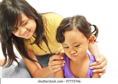 asian ethnic teenage sister counsel moody kid