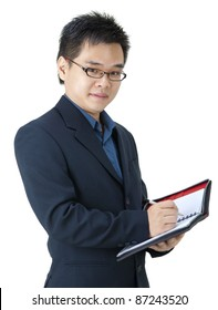 Asian Executive with his diary