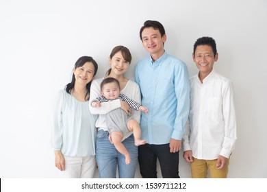 asian familiy on white background