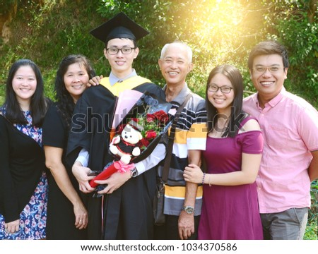 3a301c49f29 Asian Family Celebrate Graduation Outdoor Family Stock Photo (Edit ...