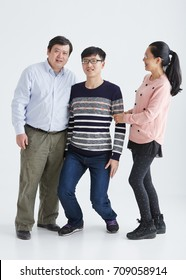 Asian family character. shot in studio white background