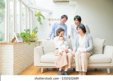 Asian family concept. Three generation family.