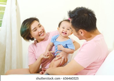Asian family enjoyed family time at home
