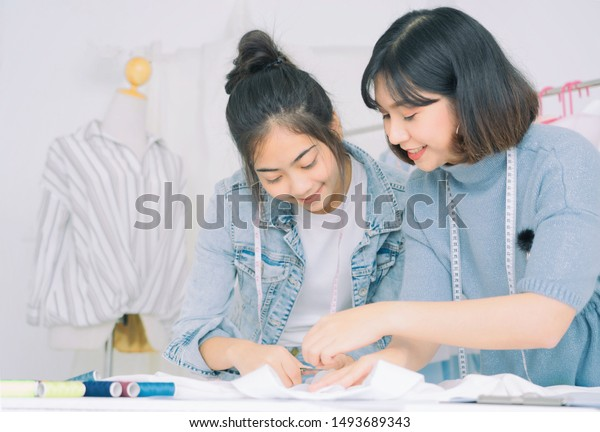 Asian Family Fashion Designers Working Homeattractive Stock Photo Edit Now 1493689343