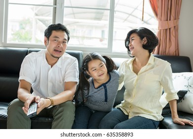Asian family happy portrait at home.