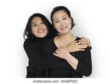 Asian Family Hug Smiling