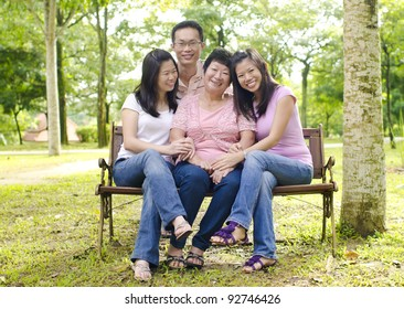 Asian family at outdoor park