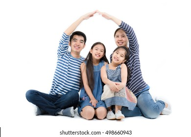 Asian family smiling and playing house by hands on isolated white background