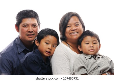 Asian family with two boys