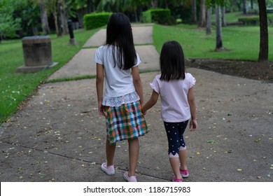 Asian Family Walk in the park
