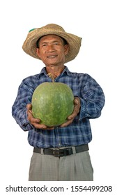 Asian farmer holding winter melon. White background with clipping path