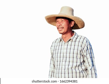 Asian farmer isolated on white background