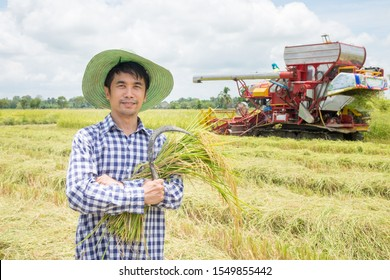 Asian farmers male stand looking camera with smiling faces at green rice fields and harvest car background