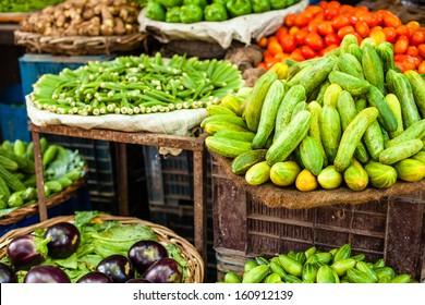 Asian farmer's market selling fresh vegetables