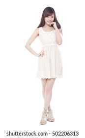 Asian fashion young woman standing,smiling,portrait