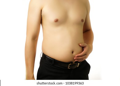 Asian Fat belly man on white isolated background