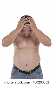 asian fat man thinking about insomnia, headache and fat isolated on white background