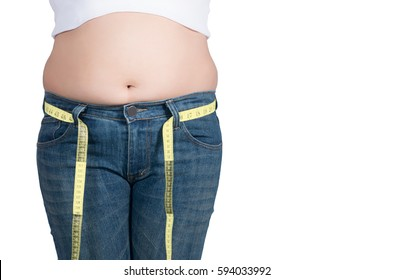 asian fat women has overweight. she measuring waist girth with measure tape. isolated on white background. she wants lose weight. concept of surgery and subcutaneous fat