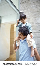 Asian father and boy