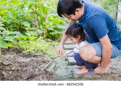 Asian father and daughter in the little vegetables garden at the outside , they are  loosen the soil in the morning time, learning by playing for toddler, love in family life concept.